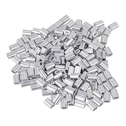 DIMENXONG Bricolaje y Herramientas 200PCS 1.5mm Cuerda Doble del Clip Ferrules Astilla de Aluminio for prensar Cable de Lazo Mangas Pinzas for Cables de Acero Paquete M1.5