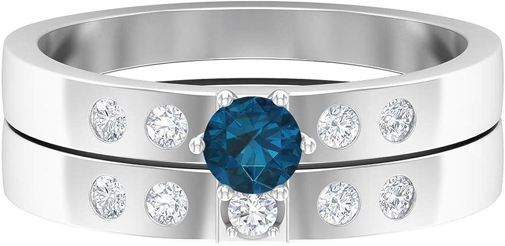 December Birthstone - Charlotte Mall 4.00 MM Blue Ring Solitaire Popularity Topaz London
