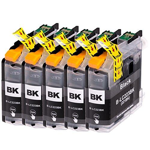 AfiD 5er Set Druckerpatronen zu Brother LC-223 Black für MFC-J 4620 DW MFC-J 4625 DW MFC-J 480 DW MFC-J 5320 DW MFC-J 5600 Series MFC-J 5620 DW MFC-J 5625 DW MFC-J 5720 DW MFC-J 680 DW MFC-J 880 DW