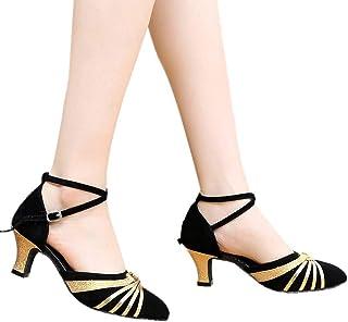 df70ac82d5e4c0 Women s Block Mid Heel Sandals NEWONESUN Peep Toe Chunky Shoes Buckle  Hollow Out Summer Casual Dance
