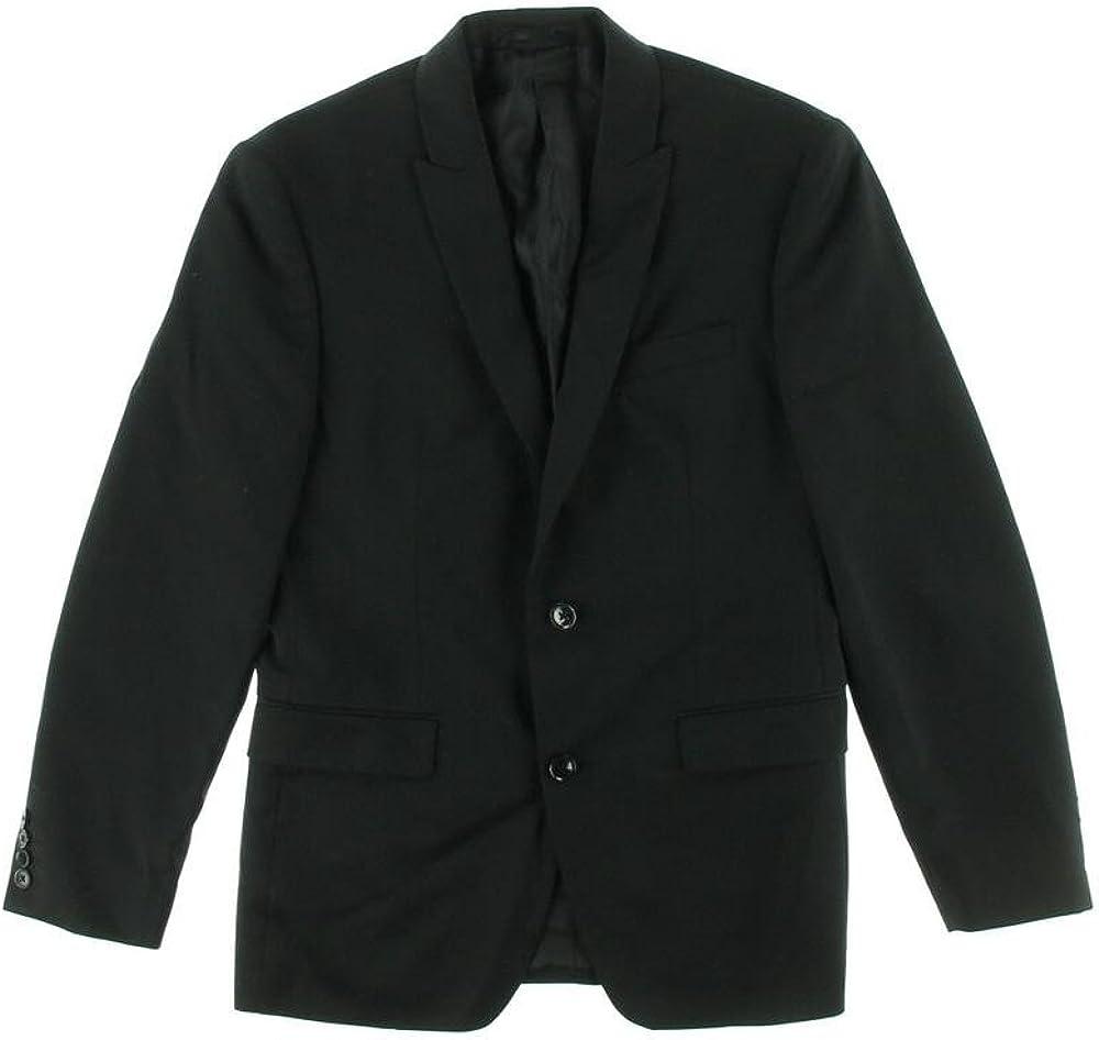 Bar III Slim Fit Blazer Black Solid 2 Button Wool New Men's Sport Coat (44 Long)