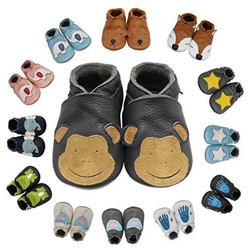 YIHAKIDS Weiche Krabbelschuhe Babyschuhe Lauflernschuhe Kleinkind Lederschuhe Hausschuhe Lernlaufschuhe Frosch(Size M,Schwarz,6-12 Monate,21/22 EU)