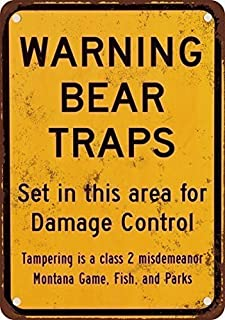 HTFDS Warning Bear Traps Montana Vintage Look Reproduction Metal Tin Sign 8x12 Inches