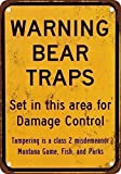 HTFDS Warning Bear Traps Montana Vintage Metal Tin Sign 8x12 Inches, Vintage Wall Decor for Cafe Bar Pub Decor