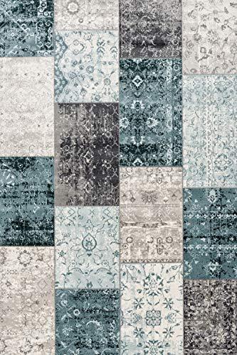 LIFA LIVING Tapis a Carreaux en Laine, Tapis de Design Vintage Patchwork, Tapis Salon Chambre Salle a Manger Entree, Gris foncé & Bleu, 133 x 200 cm