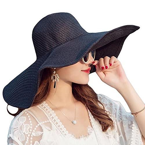 Itopfox Women's Beachwear Sun Hat Striped Straw Hat Floppy Big Brim Hat...