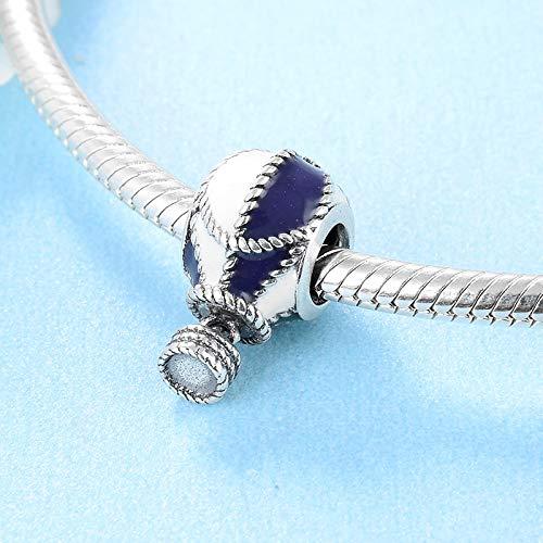 DASFF Argento Sterling 925 Delicato Blu e Bianco a Forma di Mongolfiera Fai da Te Smalto Perline Misura Originale Braccialetto creazione di Gioielli