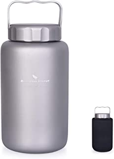 Boundless Voyage Titanium Water Bottle with Handle Big Capacity Wide Mouth Ultralight Leak-Proof Canteen Drinkware for Out...