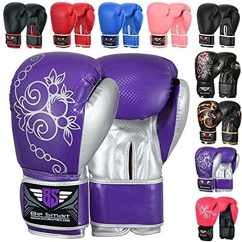 BeSmart Kids Boxing Gloves Junior Mitts 4oz, 6oz Punch Bag Children MMA Youth P (Purple, 4 Oz)