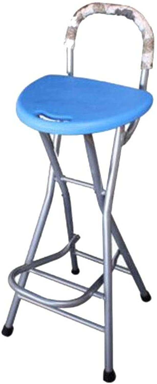 BYCSD Folding Balcony Stool Bar Chair Bar Stool Portable High Stool Front Desk Seat (color   bluee, Size   Upgraded)