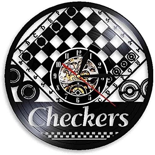 Reloj de Pared para Mujer, Hecho de Vinilo Real Tablero de Juego de Tablero de ajedrez diseño Moderno Pegatina de ajedrez Reloj de Jugador de ajedrez Regalo de Santa Led