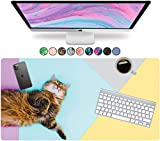 French Koko Large Mouse Pad, Desk Mat, Keyboard Pad, Desktop Home Office School Cute Decor Big Extended Laptop Protector Computer Accessories Mousepad Women Girls Kitty XL 31'x15' (Pet Lazy Cat)