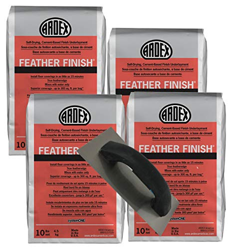 Ardex Feather Finish - Bag 10 Lb Bag - Self-Drying Cement Floor Patch - Grey - Pristeen Cement Floor Patching Trowel (4 Bags)