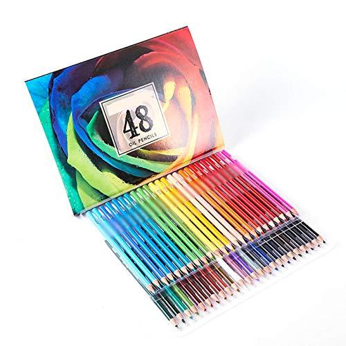 Lapices Colores Yuan Ou Multicolor 180 colores lápices de dibujo de acuarela profesional artista pintura bocetos lápiz de color de madera suministros de arte escolar 48 lápices de aceite