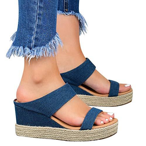 XXZ Sandalias con Punta Abierta para Mujer de Cuero Cómodo Sandalias de Caminar Antideslizantes Zapatos de Viaje Verano Playa,4blue,43