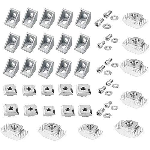 Anyasen 2020 Joint à Angle Droit Support Profilé d'extrusion en Aluminium de Fixation d'Angle Forme L Angle avec Vis T écrou Aluminium Profilé pour Porte Fenêtre Meuble