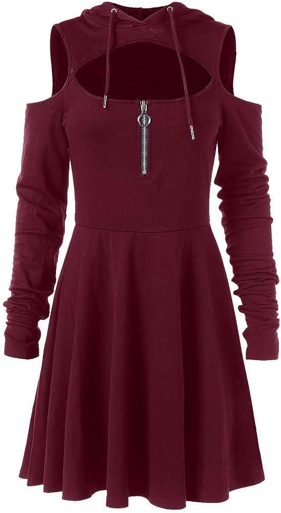 KIMODO Damen Kleid Lang Herbst Kalte Offene Schulter Swing Zipper Kapuze Kleider