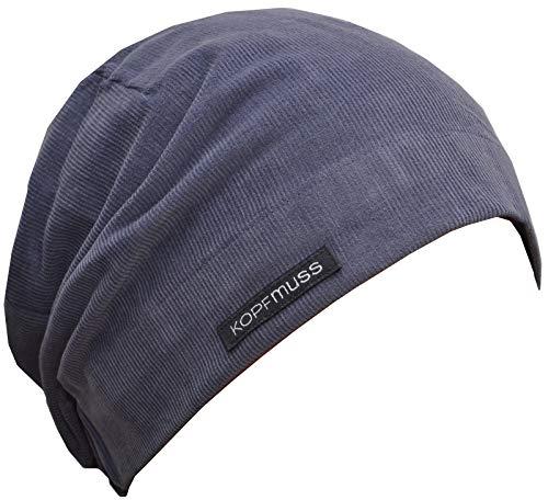 Kopfmuss - Unisex Ungefütterte Cordmütze Jeansblau M