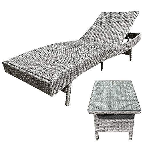 Melko Sonnenliege Rattan Liege inkl. Tisch Gartenliege Relaxliege, verstellbar