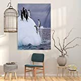 Underwater Abstract Art Gentoo Penguin On Iceberg Freezing Wilderness Antarctic Landscape Print 32x36 Wall Art Decor Poster Painting