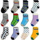 12 Pairs Toddler Non Skid Socks with Grips Anti Slip Bottom, Cotton Non Slip Ankle Crew Socks for Boys, Girls, Kids(1-3Years)