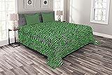 ABAKUHAUS Dschungel-Laub Tagesdecke Set, Blätter auf Zigzags, Set mit Kissenbezügen Waschbar, 264 x 220 cm, Charcoal Grau Grün
