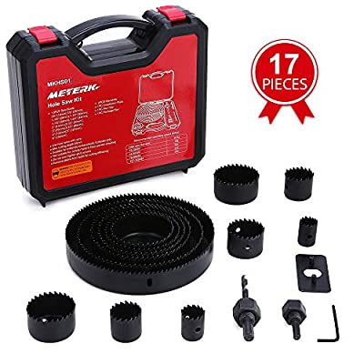 "Hole Saw Set, Meterk 17 Pcs Hole Saw Kit with 13Pcs Saw Blades, 2 Mandrels, 1 Installation Plate, 1 Hex Key, Max Size 6""(152mm) and Min Size 3/4"" (19mm), Ideal for Soft Wood, PVC Board and More"