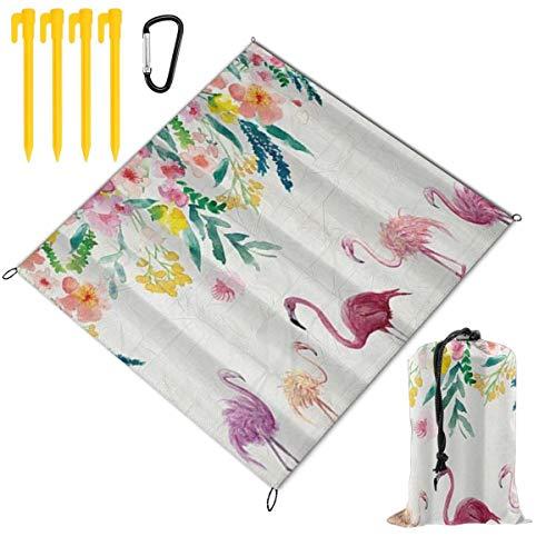 WINCAN Couverture de Pique-Nique 140x150cm,Thème Tropical Flamingo Rose Floral Fleurs colorées Ivy Animal,couvertures de Plage en Plein air Tapis étanche au Sable pour la randonnée,Le Camping