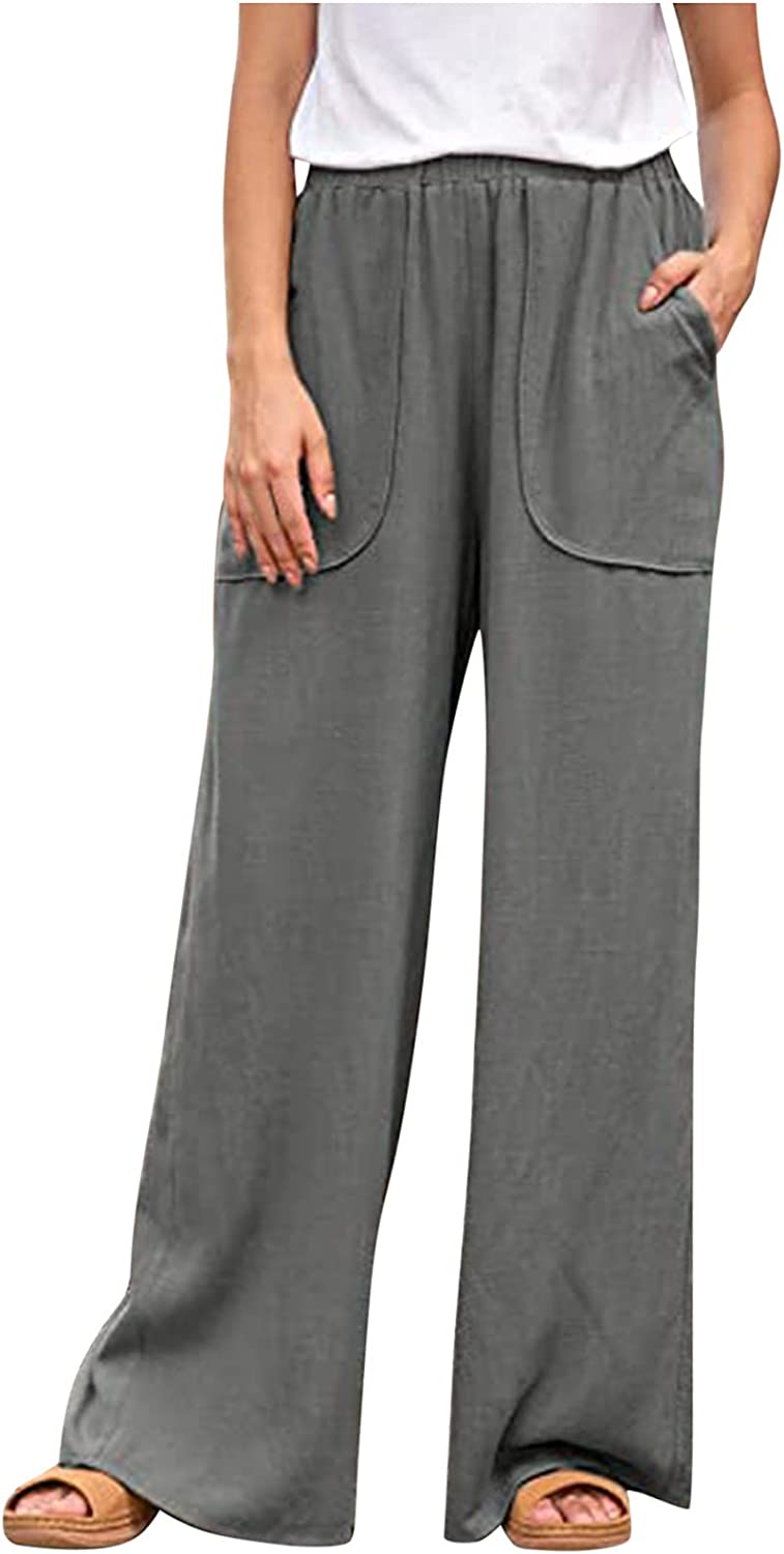 Lovor Womens Cotton Linen Wide Leg Palazzo Long Pants Casual High Waist Elasticated Loose Fit Trousers with 2 Big Pockets