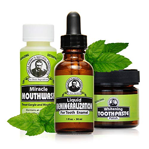 Uncle Harry's Natural Remineralization Kit with Tooth Whitening - 3 Products Strengthen Weak Enamel,...