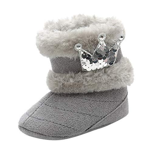 Lazzboy Kleinkind Kind Baby Nette Krone Bling Winter Warme Schnee Aufladungs Beiläufige Schuhe Säuglingsjungen Mädchen Stricken Woolen Stiefel Prinzessin Prewalker(Grau,0-6Months)