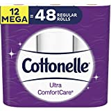 Cottonelle Toilet Paper, Ultra Comfortcare, Soft, 12 Mega Rolls (48 Single Rolls), Bath Tissue 12 Count