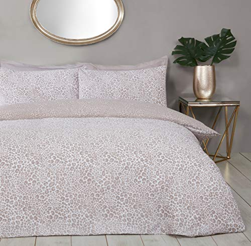 Sleepdown Leopard Print Natural Reversible Easy Care Duvet Cover Quilt Bedding Set with Pillowcase - Single (135cm x 200cm)