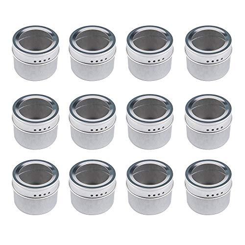 Tebery Pots à Épices Magnétique, Set de 12 Boîtes à Épices Magnétiques, pour BBQ Cuisine, Contenants à Épices Ronds en Acier Inoxydable, Tamiser et Verser, pour Sel, Poivre, Herbes ou Assaisonnements