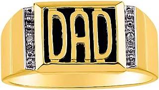 RYLOS - Anillo de plata de ley 925 bañado en oro amarillo con diamantes y ónix negro