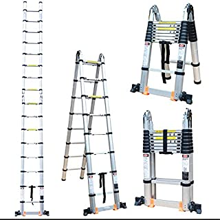 Maple Telescopic Ladder Expansion Stepladder Fold Super Multi-Function Folding AluminumHeavy Duty Indoor Outdoor Home A Shape (Straight 3.2 m 'A' 1.55 m)