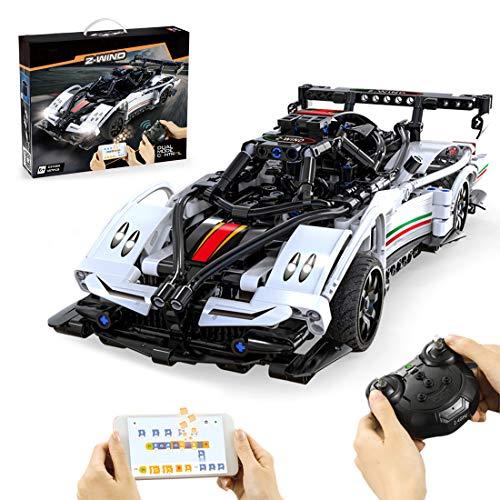 VIPO Technik Bausteine Auto Modell, 457 Teile 2.4G Ferngesteuert Sportwagen mit Led Rennwagen Bausatz Kompatibel mit Lego Technic