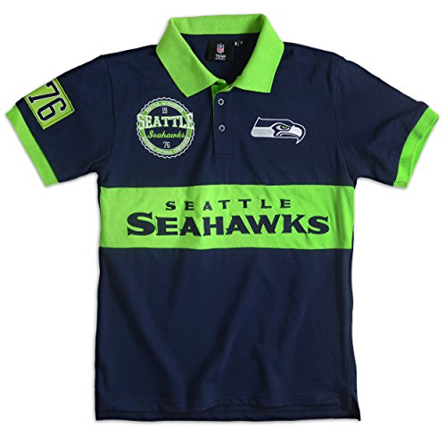 Seattle Seahawks Cotton/Poly Wordmark Rugby Short Sleeve Polo Shirt Large