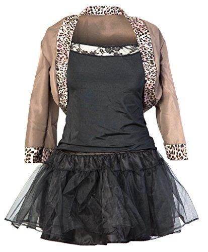 Emmas Wardrobe Kostüm Damen 80er Jahre | Beinhaltet Jackett, Schwarzes Top, Schwarzen Rock, Haarband und Handschuhe | Grobe 34-42 | Madonna Kostüm oder 80er Frauen Kostüm| (40)