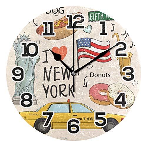 BONIPE I Love New York American Flag Wanduhr, geräuschlos, Nicht tickend, Acryl, 25,4 cm