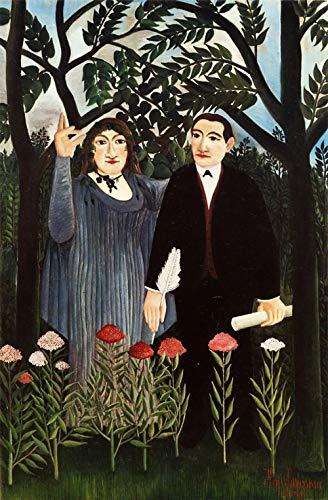 The Muse Inspiring The Poète by Henri Julien Rousseau. 100% peint à la main. Reproduction de haute qualité. Livraison gratuite (non encadrée et non étirée). Taille de la peinture: 61 x 94 cm.