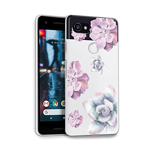 HELLO GIFTIFY Phone Case Compatible with Google Pixel 2 XL (6.0 inch 2017) Clear Soft TPU Gel Protective Rubber Cover, Watercolor Purple Flower Designed