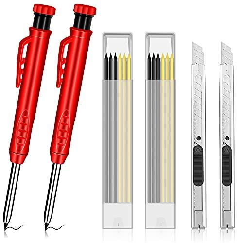TCIOD 2 Stück Tieflochmarker Zimmermannsbleistifte, Mit 12 Minen und 2 Universalmesser Eingebauter Bleistiftspitzer Bauwerkzeuge Blei-Baustifte Solides Tiefloch-Markierwerkzeug für
