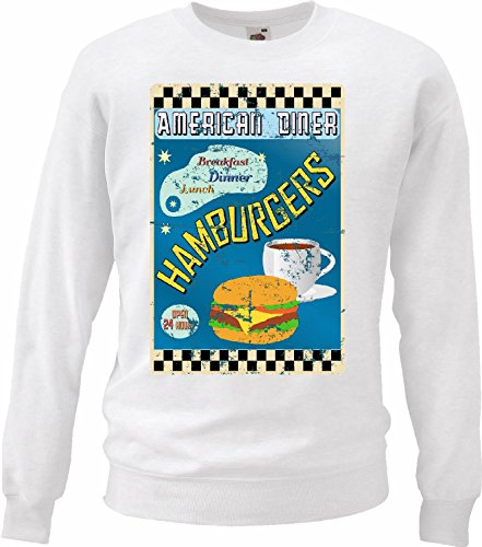 Sweatshirts American diner ontspanning Hamburger calorieën dieet Cheeseburger koffie dieet slankheidscalorieën Figura APTITUD IMC vetverbranding DICK DelGADO