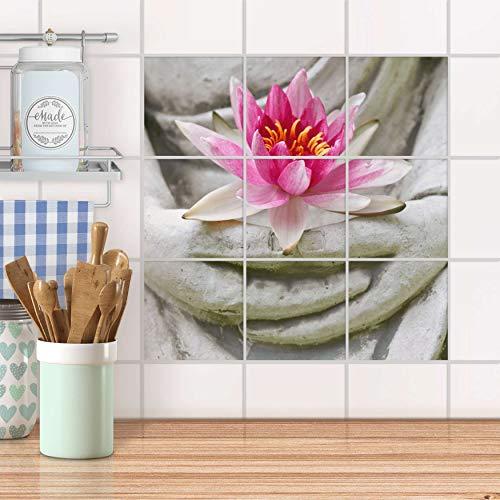 creatisto Fliesenbild für Bad und Küche I Fliesen Aufkleber Folie selbstklebend I Fliesen renovieren - Fliesenverkleidung für Küchen- und Badfliesen I Design: Flower Buddha