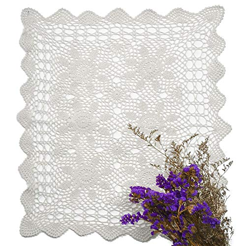 yazi White Table Placemats Handmade Crochet Cotton Lace Sofa Doilies Towel Hollow for Home Living Room Decoration 40x60cm