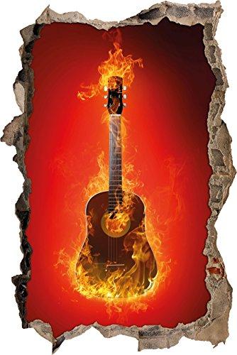 Pixxprint 3D_WD_2855_92x62 Brennende Gitarre Wanddurchbruch 3D Wandtattoo, Vinyl, bunt, 92 x 62 x 0,02 cm