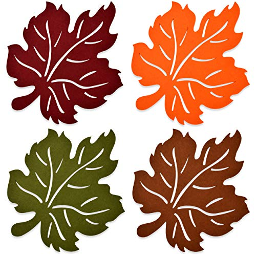 Gift Boutique Laser Cut Felt Harvest Leaf Placemats Pack of 4 Orange Green Brown and Red Colors Thanksgiving Autumn Maple Leaves Shaped Chargers Fall Turkey Crafts Dinner Party Table Decorations