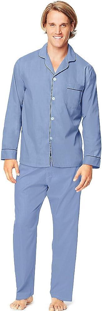 2-Piece Blue Striped Woven Sleepwear Pajama Set Sleep Set (118131)
