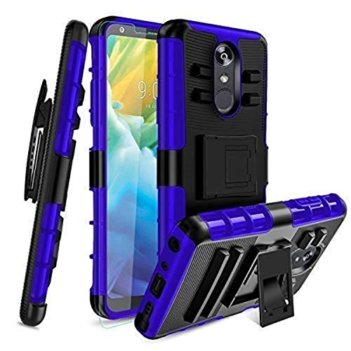 for LG Stylo 4/LG Stylo 4 Plus/LG Stylus 4 Case Covers,Hard Kickstand Belt Clip Holster Combo,Hybrid Shockproof Heavy Duty Rugged PC+Rubber Full Body Protective with Screen Protector[Blue]